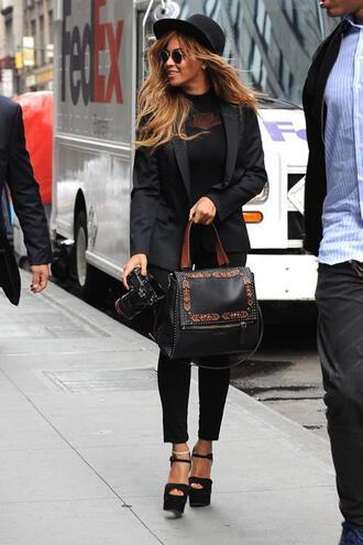 pants jacket hat sunglasses beyonce all black everything platform sandals bag purse top