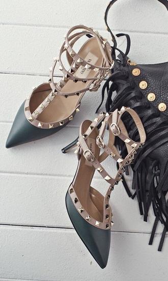shoes heels black beige elegant pretty sexy studs girl women lady style black heels
