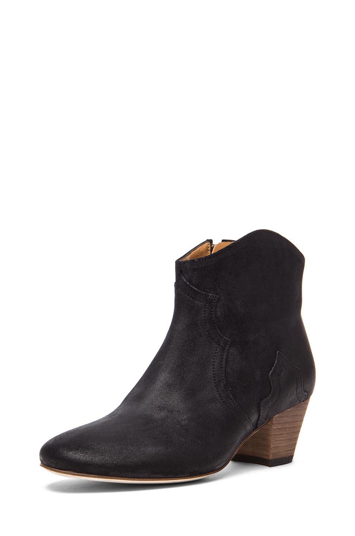 Isabel Marant | Dicker Calfskin Velvet Leather Boots in Black