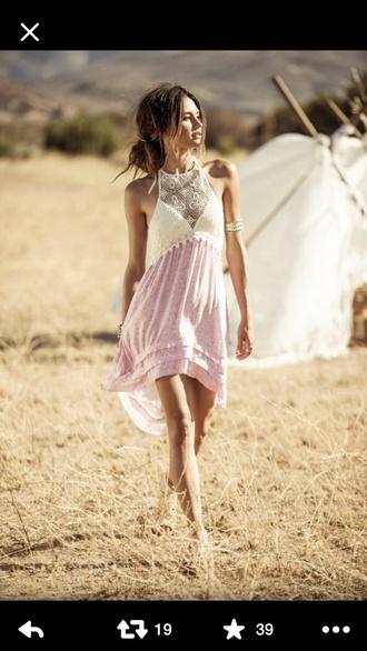dress pink ivory crochet halter dress