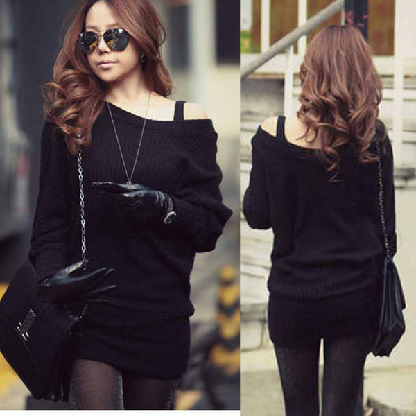 Shop Korean Women Off Shoulder Batty Sleeve Jumpers Sweater Mini ...