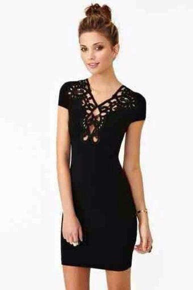 little black dress fitted dress cutouts