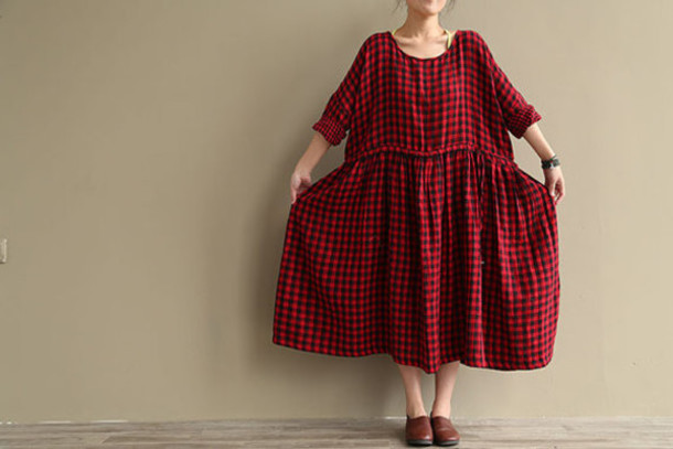 Buykud Buykud Women Dress Vintage Dress Cotton Dress Linen