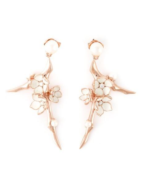 SHAUN LEANE cherry rose gold rose women earrings gold silver grey metallic jewels