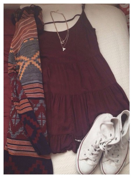 cardigan dress jumper tribal pattern aztec hippie boho bohemian hipster burgundy burgundy dress shift dress summer dress