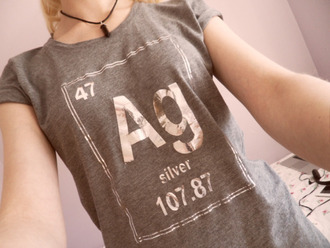 shirt t-shirt periodic table silver silver top blouse grey t-shirt