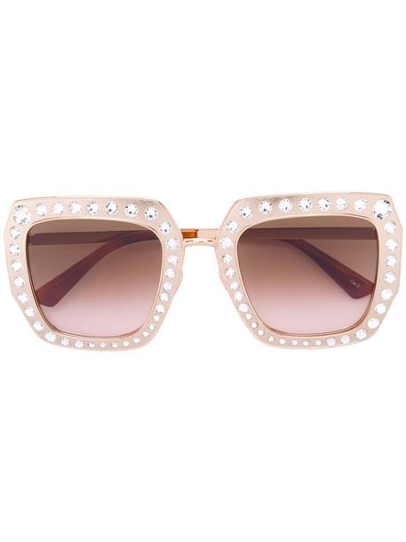 Gucci Eyewear - Oversize square-frame sunglasses with crystals - women - Metal (Other)/Swarovski Crystal - One Size, Grey, Metal (Other)/Swarovski Crystal in metallic
