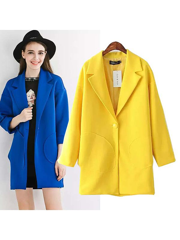Lapel long sleeve single button plain trench coats : kisschic.com