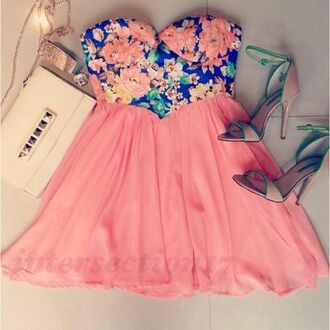 dress fashion floral cute cute dress blue strapless high heels bag outfit weheartit bralette summer party spring gold skirt tank top dark blue bustier boobtube pink skater skirt