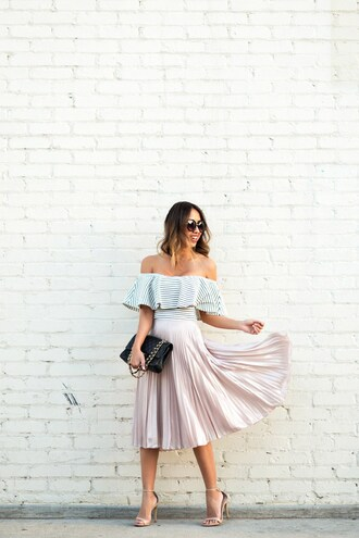 lace and locks blogger striped top ruffled top off the shoulder top pleated skirt pink skirt midi skirt special occasion dress spring outfits summer outfits cocktail wedding wedding clothes striped off shoulder top blush pink ruffle round sunglasses black bag girly sandals sandal heels high heel sandals nude sandals