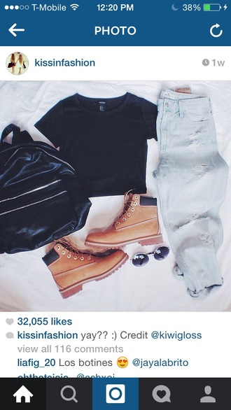 blouse timberland boots black shirt ripped jeans glasses