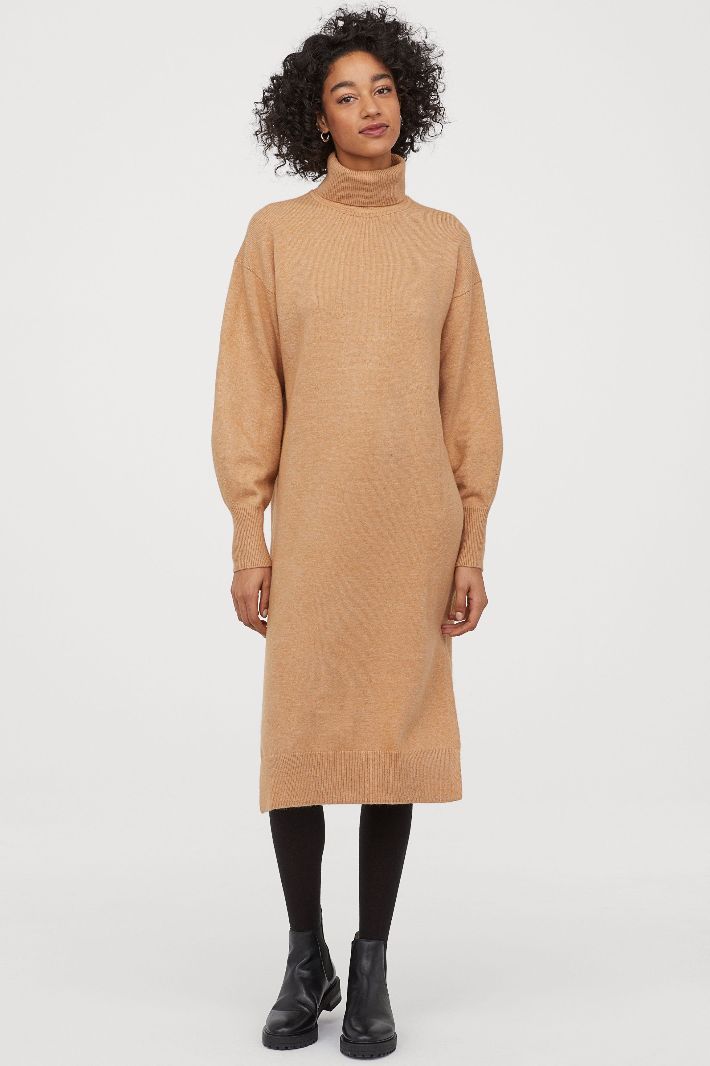 Knitted polo-neck dress - Beige - Ladies | H&M GB