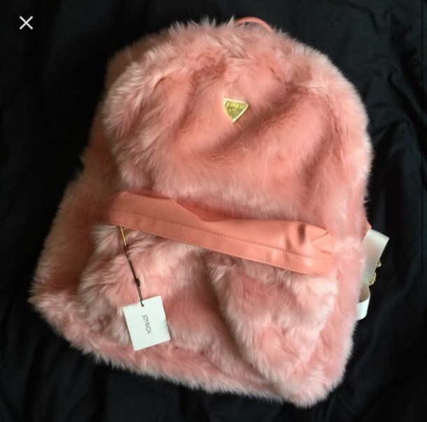 Bag: pink, backpack, furry backpack, fuzzy backpack, pink bag ...