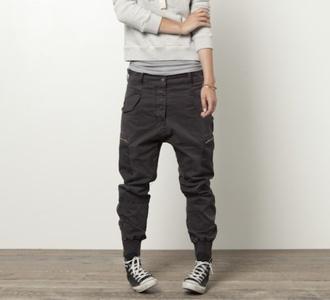 jeans loose fit parachute pants elastic ankle