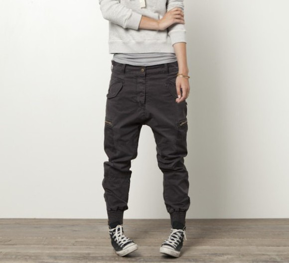 loose fit jeans parachute pants elastic ankle