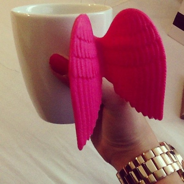 white pink wings mug holiday gift jewels nail accessories home accessory cute teacup cup sweet gloves