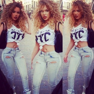 shirt t-shirt white bag jeans curly hair crop tops pants blouse jewels top