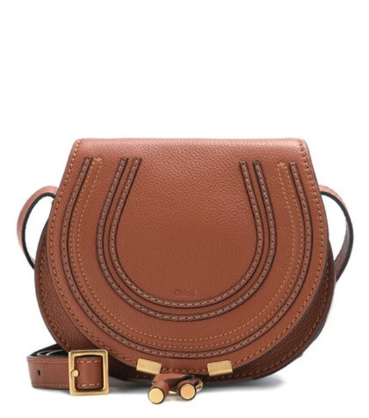 Chloé Marcie Small leather shoulder bag in brown