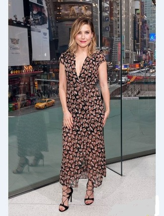 dress sandals wrap dress floral dress sophia bush spring outfits shoes