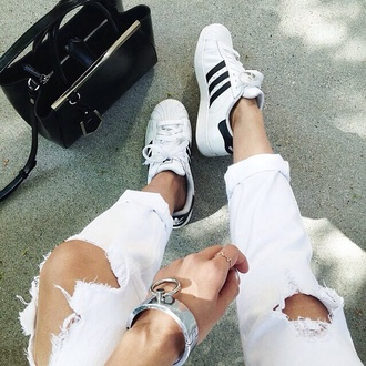 jeans backpack shoes accessories bag adidas fall outfits spring style block colour black and white denim ripped jeans