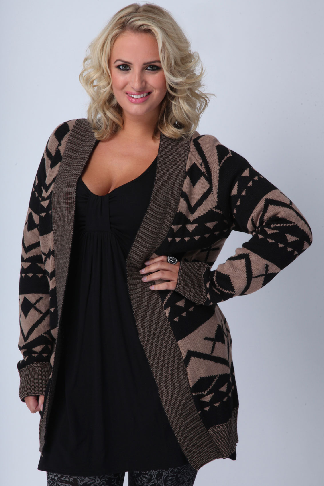 Mocha & black aztec patterned cardigan plus size 16,18,20,22,24,26