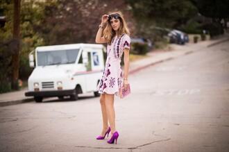 the blonde salad blogger sunglasses purple dress purple olympia le-tan