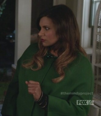 coat green collar embellished mindy kaling mindy lahiri the mindy project