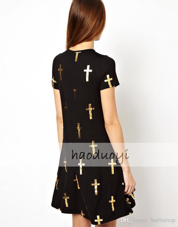 Golden Cross Printed Black Dress With Short Sleeves Street Style | Buy Wholesale On Line Direct from China