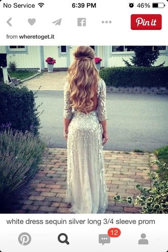 dress white sequin silver long sleeve prom
