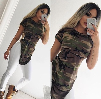 t-shirt long camouflage