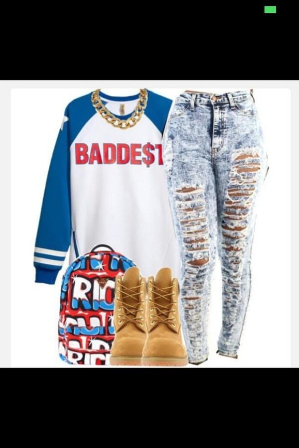 jeans blue jeans ripped jeans ripped jeans sweater bag jewels shirt