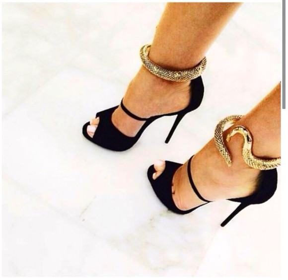 shoes snake high heels serpent gold and black Belt strappy sandals style stunning gorgeous stilettos