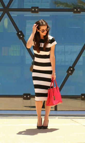 diary of a debutante blogger dress shoes bag sunglasses striped dress midi dress black and white dress handbag pumps high heel pumps