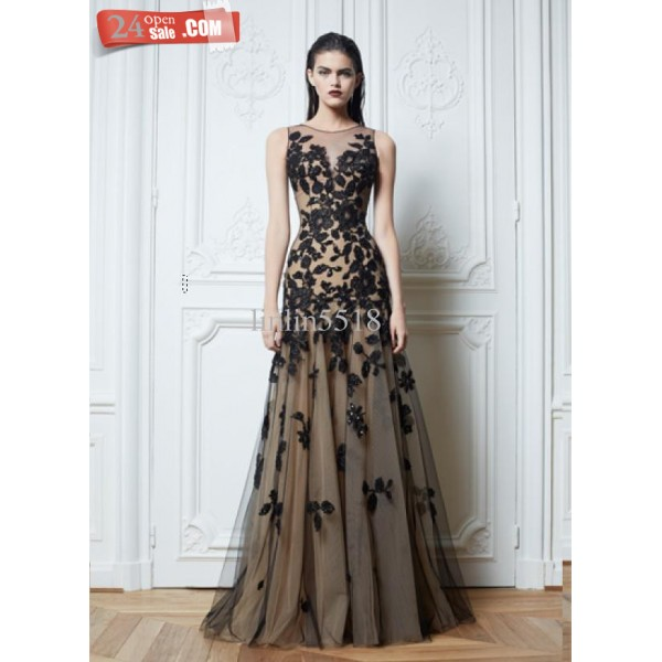 2014 sexy zuhair murad crew neck prom dresses lace black tulle nude color chiffon floor length evening dresses celebrity dresses