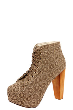 Ameera taupe floral lace block heel shoe boot at boohoo.com