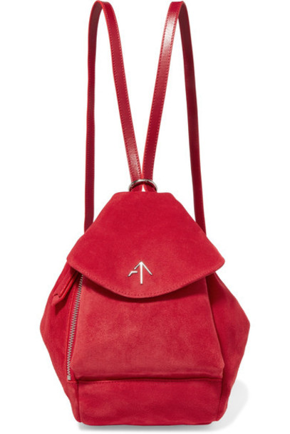 manu atelier mini backpack suede backpack leather suede red bag