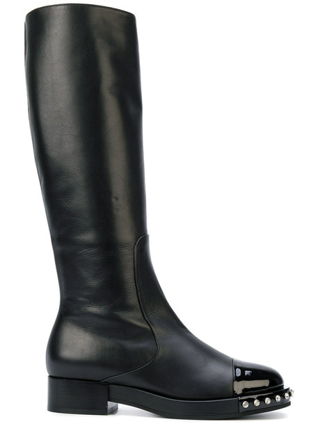 No21 knee-high boots studded high women leather black shoes