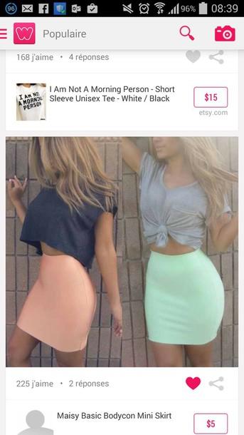 top black crop top grey crop top skirt