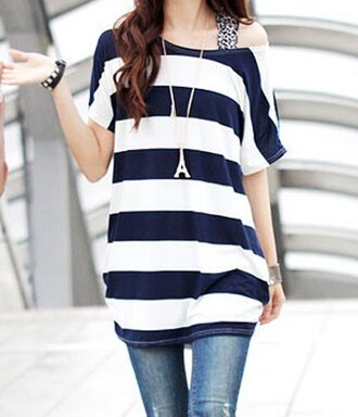 top black white stripes girly pretty