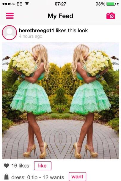 dress mint lace dress poofy dress dress green dress