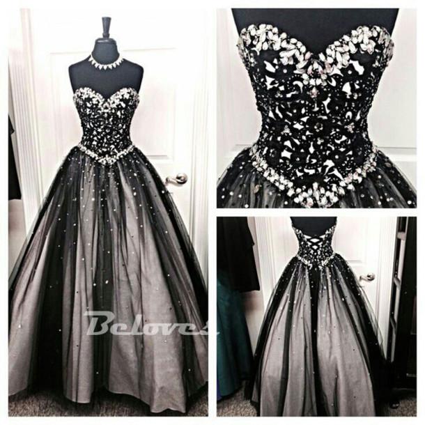 dress black tulle prom dress lace appliques prom dresses