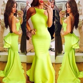 dress neon gown formal fashion elegant yellow open back vanessawu