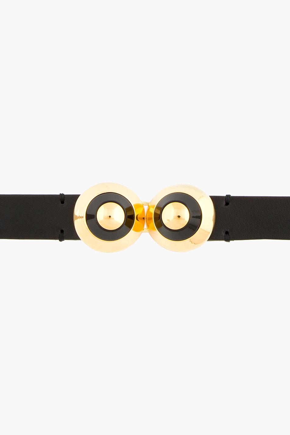 Marni black and gold accent waist belt