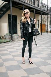 onesmallblonde,blogger,jacket,t-shirt,jeans,shoes,bag,sunglasses,black jacket,black bag,winter outfits,high heel sandals,sandals