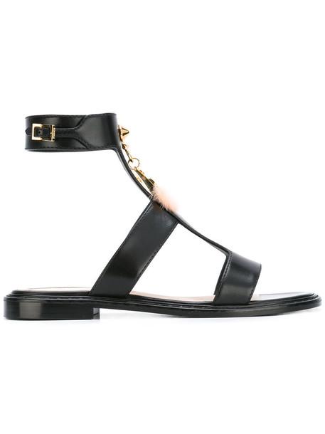Fendi metal women love sandals leather black shoes