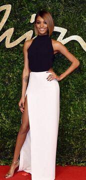 dress,black and white,slit dress,gown,prom dress,jourdan dunn,sandals