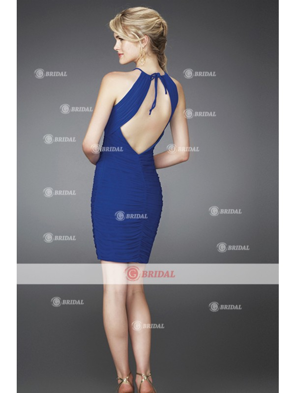Sheath/Column Halter Backless Natural Chiffon Sleeveless Graduation Dresses