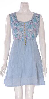 dress,ladies sleeveless front buton dress denim blue