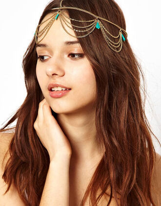hair accessory summer hair asos khloe kardashian gypsy coachella coachella style coachella 2014 hair crown hair hair band gold chain gold turquoise jewelry turquoise hippie hippie chic spring outfits spring spring summer 2014 spring break summer summer trends