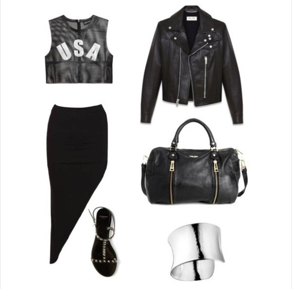 bag shoes black bag jacket zadig et voltaire tank top skirt jewels